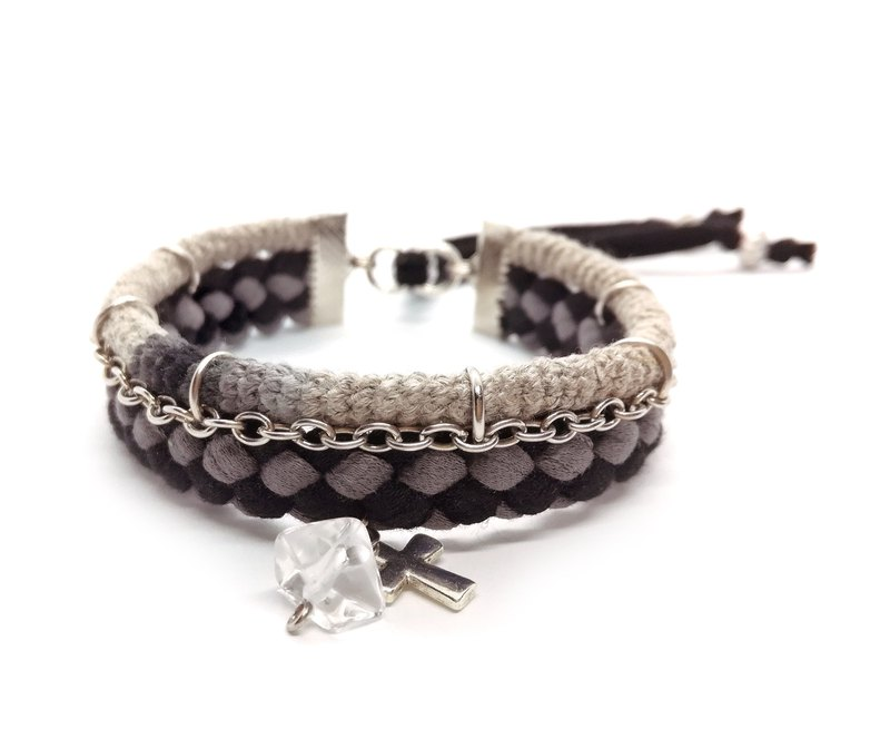Black Grey Cross Bracelet for Men Quartz Bead