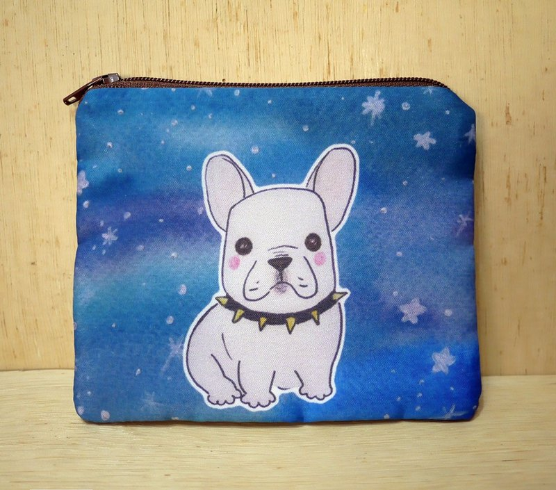 {Customizable} handwritten name hand-painted watercolor rendering style pattern French bulldog Wallets purse card package