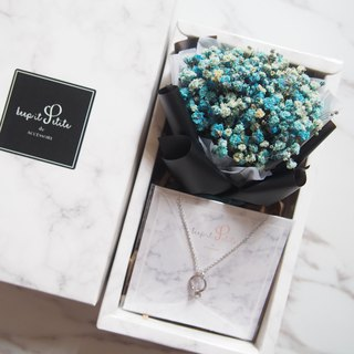 [Cloud Pattern Gift Set - Necklace] Blue Dry Star Bouquet + Mini Ring Necklace