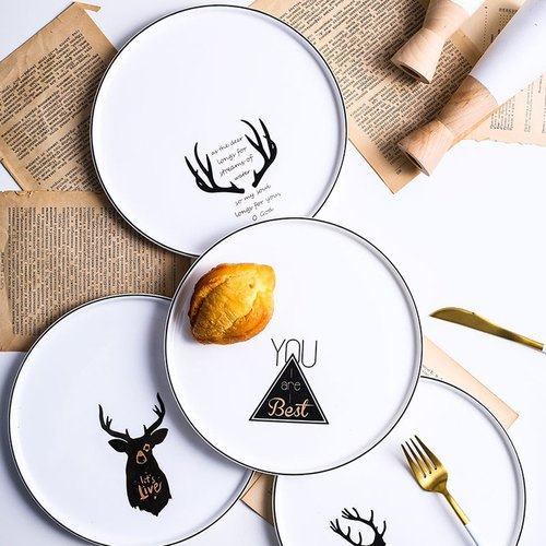 Nordic simple deer plate tableware 9 inches creative dishes plate western dishes