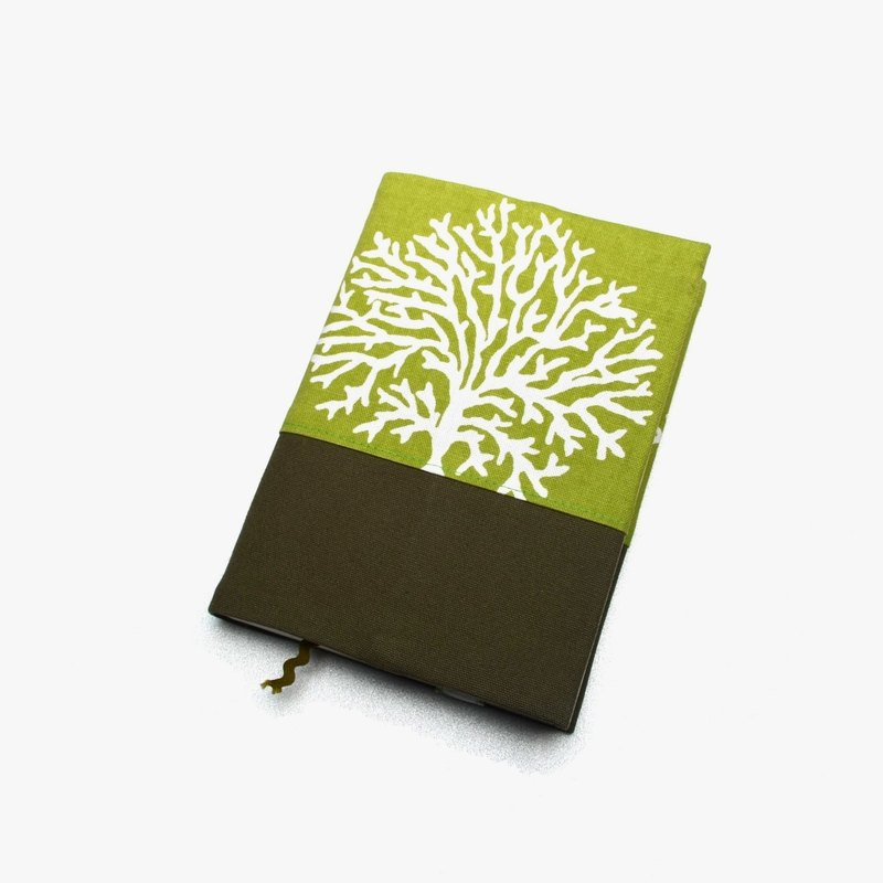 Tree coral book cover with bookmark handmade Print Cotton Fabric canvas