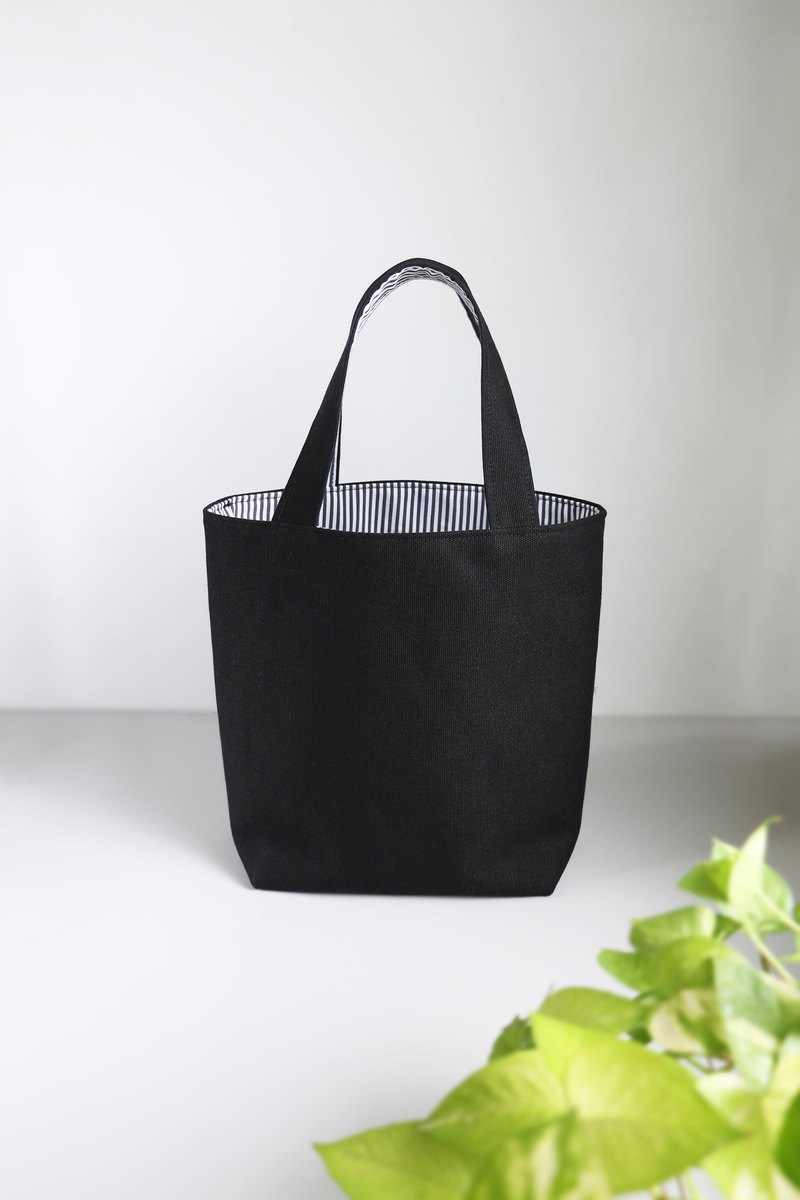 [Classic stripe meets canvas] Tote bag / lunch bag environmental protection bag