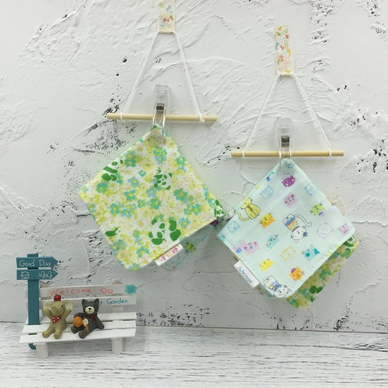 G01-soft soft gauze handkerchief (six-layer gauze) double-sided pattern pandas & cats in the jungle