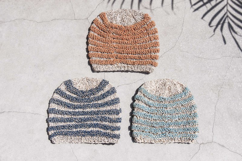 Hand-knitted cotton and linen cap hand-woven fisherman hat hand-knitted cotton and linen cap knit hat fisherman hat - blue sky
