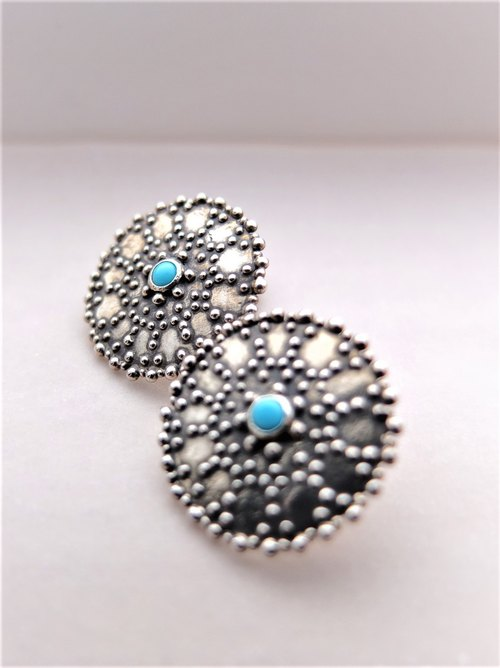 Asian vintage style silver errings-Turquoise-Oxidized silver
