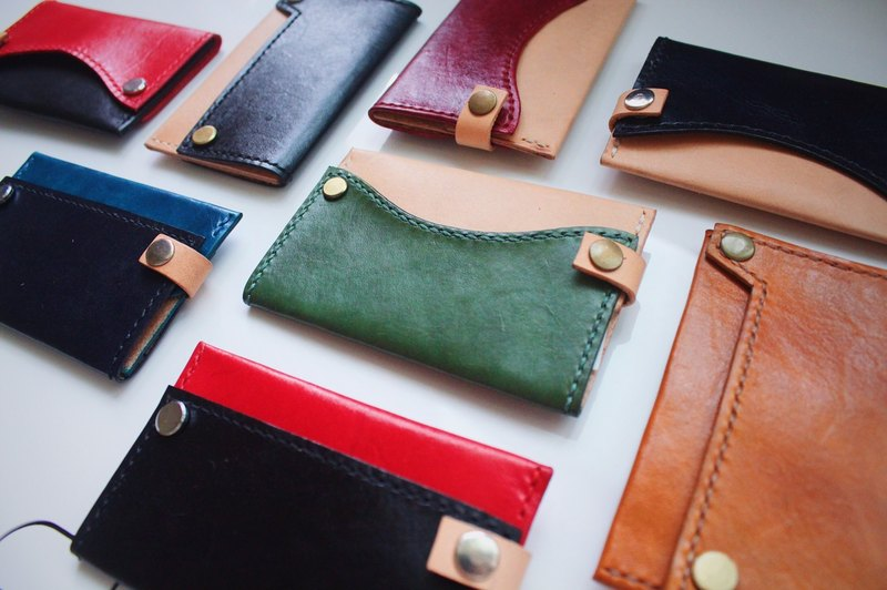 [艸一田人]Europe imported leather hand-colored business card holder