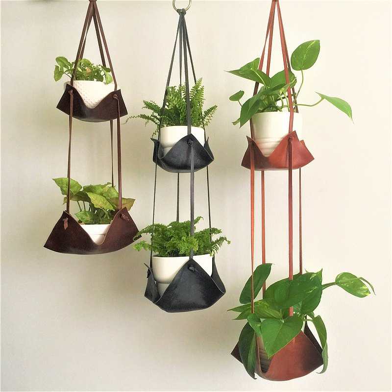 Leather Plant Hammock // Double Indoor Hanging Plant Hanger // Planter Decor