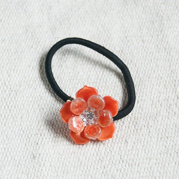Color flower bud, painted acrylic hair bundle, hair ring - orange