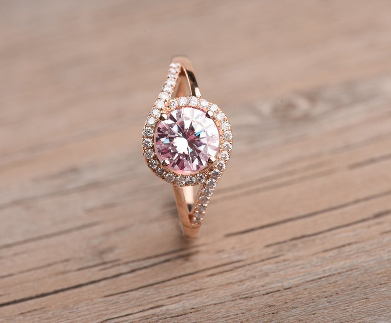 Halo Morganite Engagement Ring in 18K Rose Gold, Pink Engagement Ring