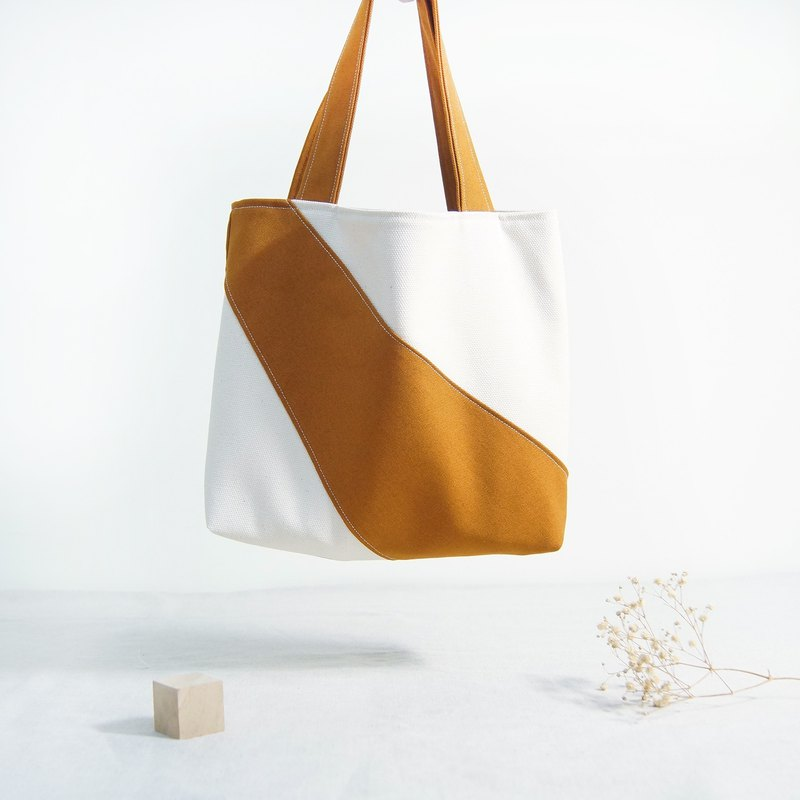 Hand made irregular stitching color block personality small tote bag - caramel brown