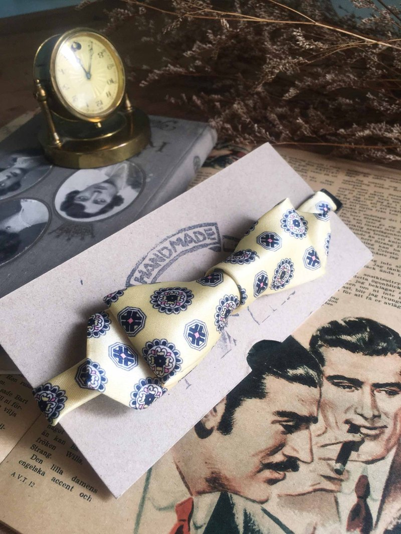 Papa's Bow Tie- antique handmade cloth flowers tie tie restructuring - spring buds - yellow - narrow version
