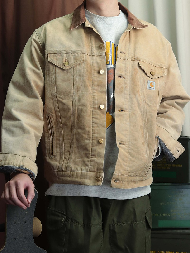 Carhartt work jacket 010 light khaki corduroy collar [TsuBasa.Y Vintage House]