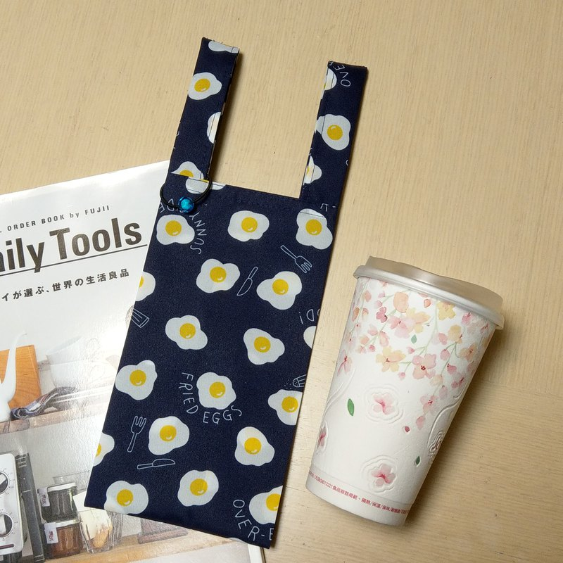 Good morning eggs (deep blue)。Handmade reusable bag for drinks and anything
