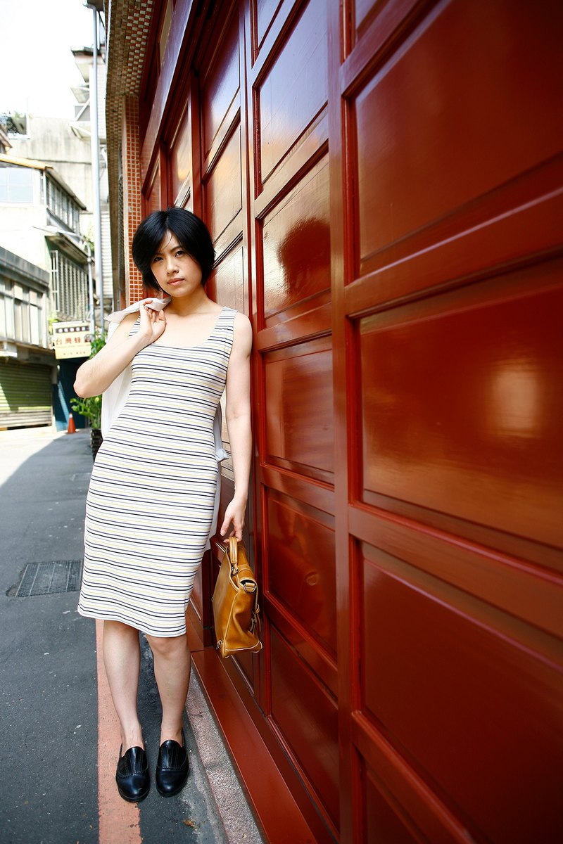 Large U-neck Striped Elastic Slim Vest Dress