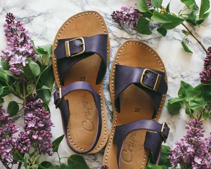 Wide Foot, Narrow Foot, Leather Sandals, Leather Aubergine Sandals, Women Sandal
