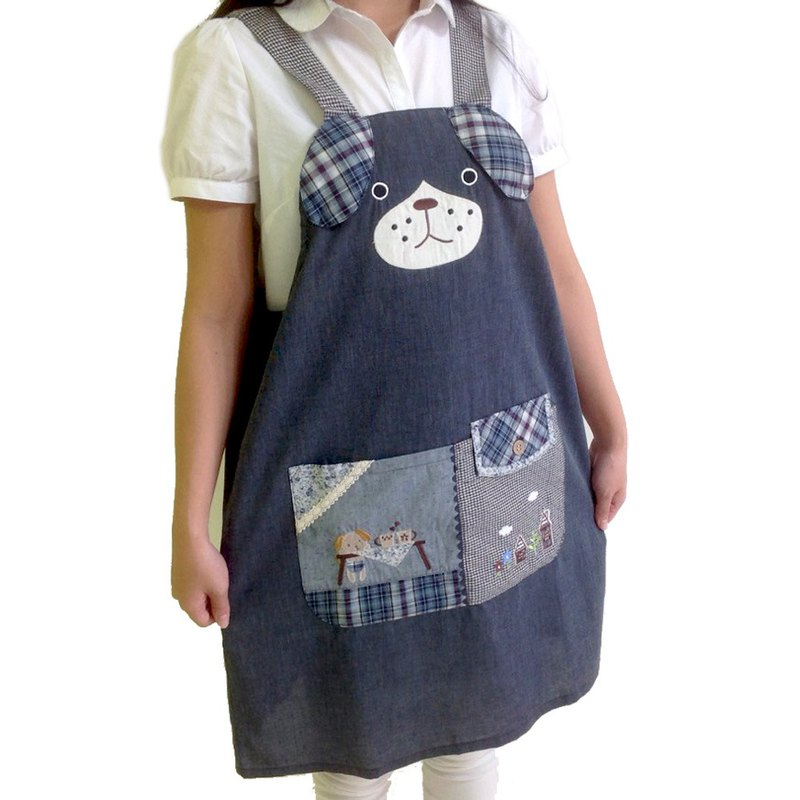【BEAR BOY】 apron apron - tea dog - blue