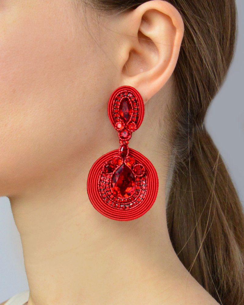 Massive red earrings with Swarovski stones