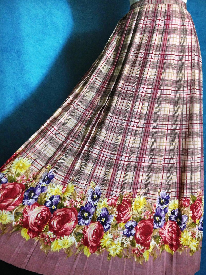 Ping-pong vintage [vintage skirt / vintage skirt pleated plaid flowers] abroad back VINTAGE