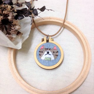 Mini Hand Embroidery - Coffee Tabby Cat Necklace