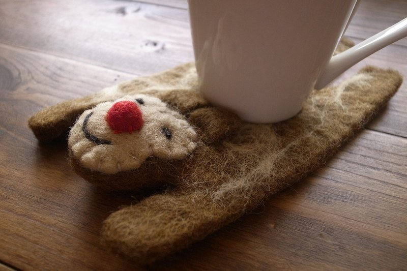 【Grooving the beats】 Handmade Felt tea coaster, animal tea coaster(Monkey)