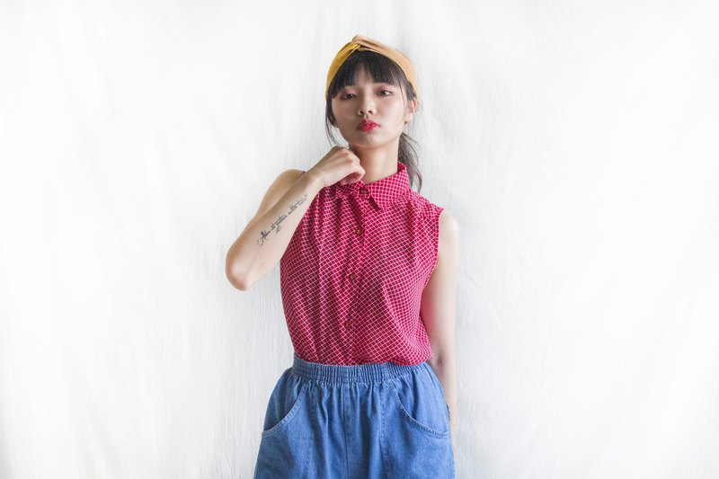 Indigo Vintage | Red White Lined Sleeveless Shirt
