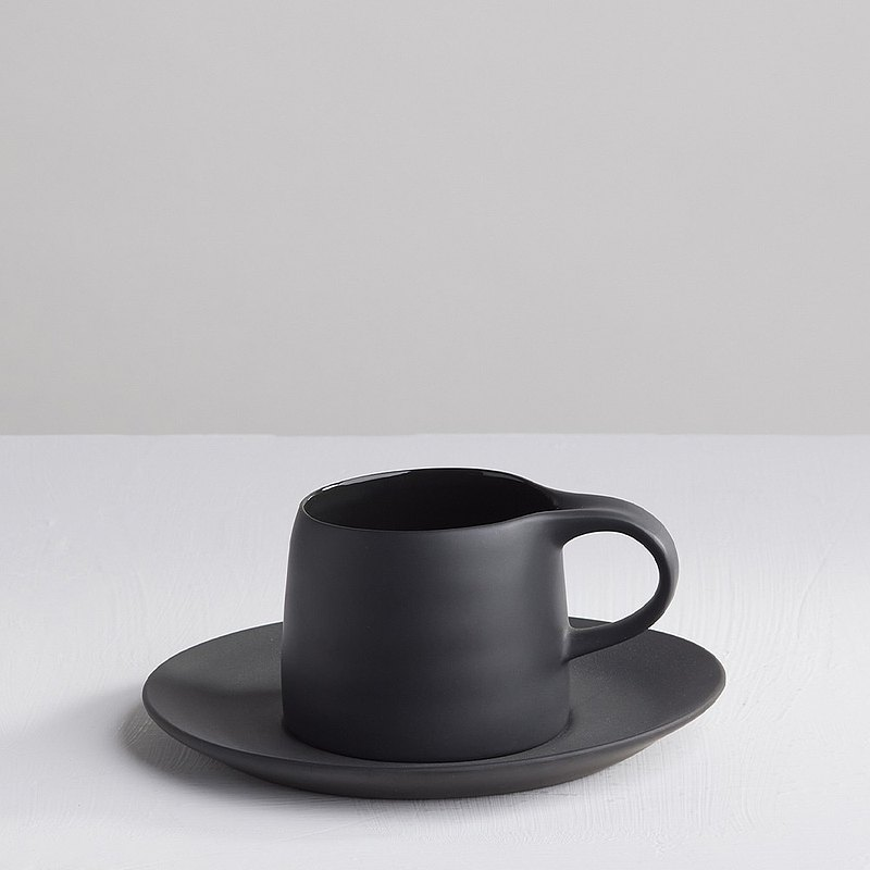 [3, co] Kabuqinuo Cup and Saucer Set (2-piece) - Black