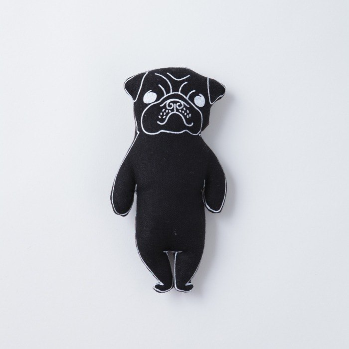 Black Pug stuffed animal pocket size