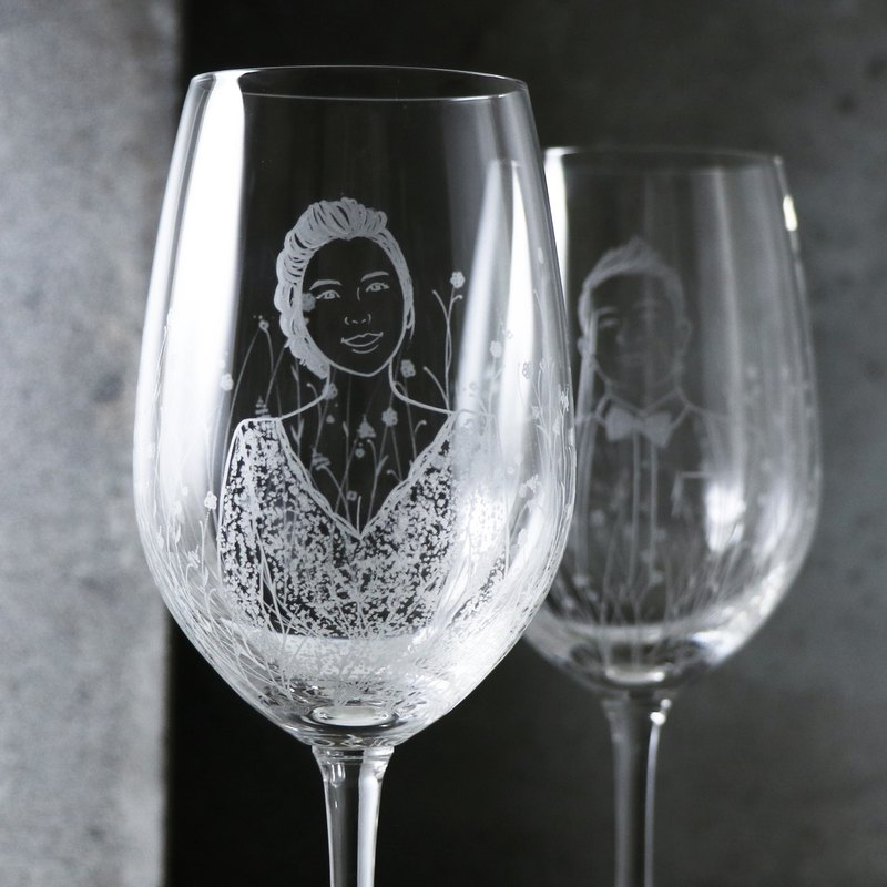 (a pair of prices) 425cc [garden wedding married to the cup] (realistic version) portrait wine glass group wedding gift