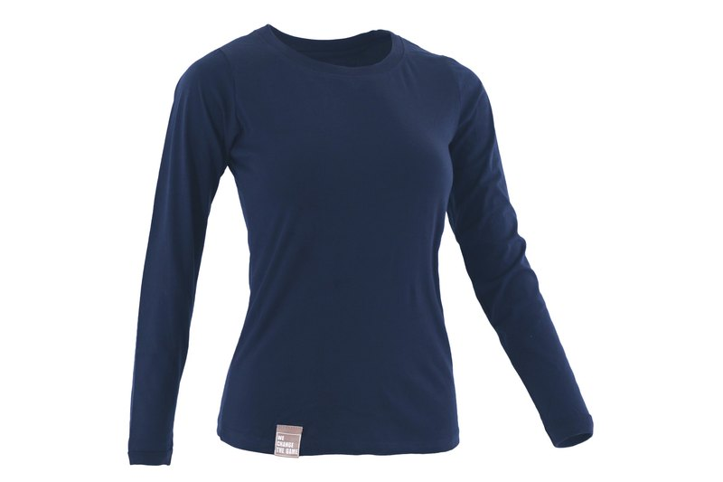 Tools female version light cotton long sleeve round neck T# zhang blue color:: comfortable:: cotton:: skin-friendly