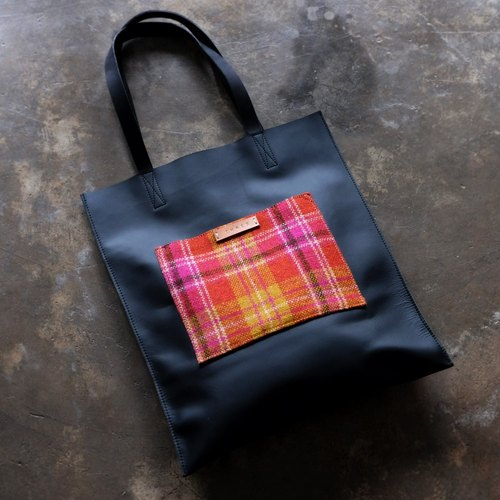 Black Leather and Plaid Wool Tote Bag