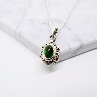 Green tourmaline 925 sterling silver necklace, Nepal handmade inlaid lace making birthday gift Valentine's gift