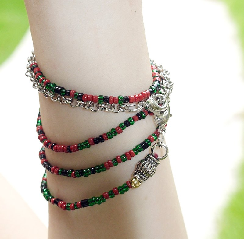 Color crystal long string bracelet (red with green dog fart)