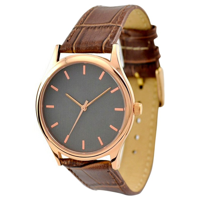 Rose gold watch (titanium-colored dial with rose gold bullion nail) brown belt