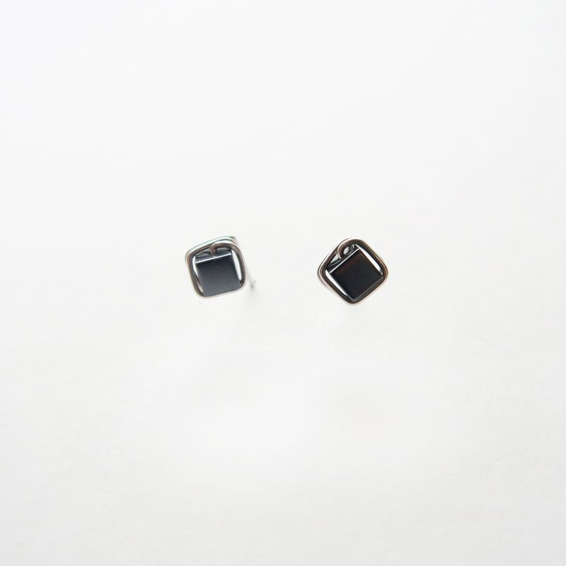 925 Silver Rectangular Iron Ore  Earring-sold as a pair-Spiral Ear Clip