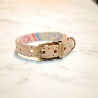 Dog big cat S number collar spring flower romantic watercolor pink can be on the leash can add tag