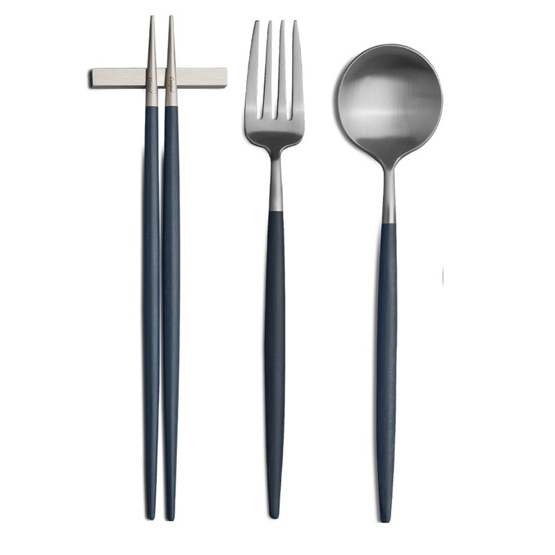 | Cutipol | GOA Blue Matte 3 Pieces Set (Table Spoon/Table Fork/Chopsticks Set)