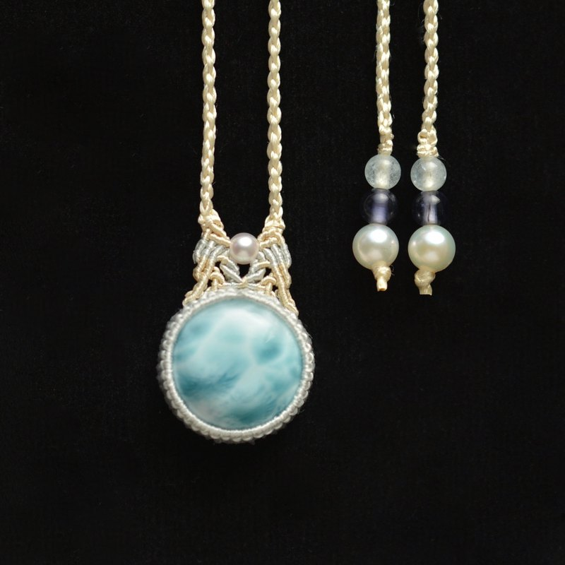 Larimar/Silk Macrame Necklace