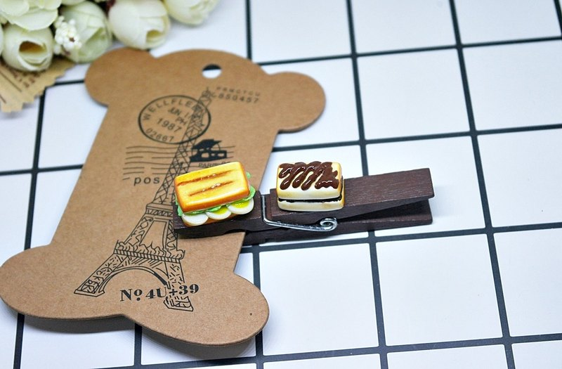 => Clay wood clip-sandwich breakfast selection <can change magnet> #生活配件#Stationery