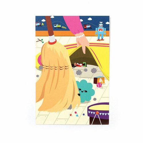 everymonster 04.Pompom-dust poker face postcard