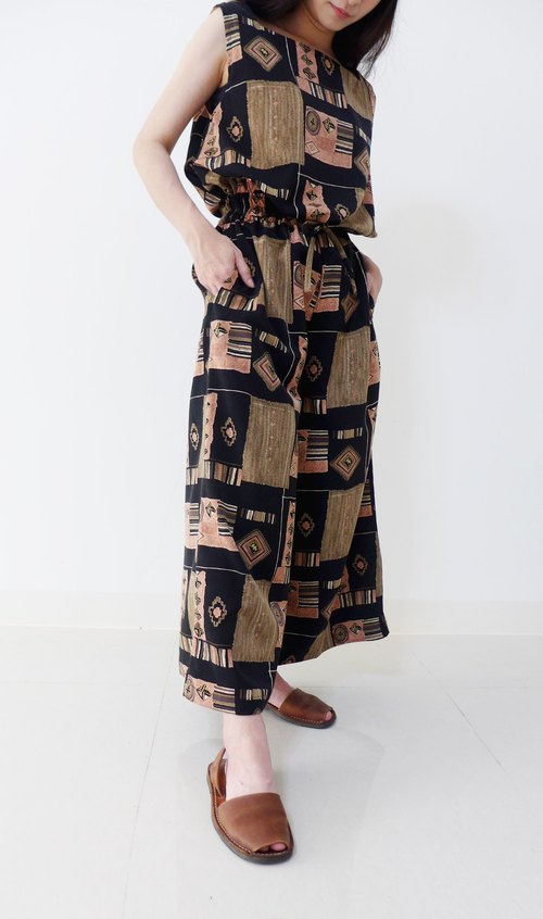 Chestnut cake --- retro print wide pants
