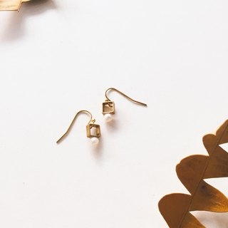 Brass Square Pearl Earrings