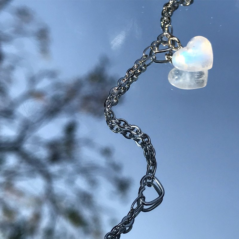 【Lost And Find】Natural  moonstone heart shaped bracelet