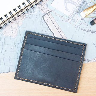 Brave leather. Hand-made leather business card holder card set swim card sets indigo black free lettering