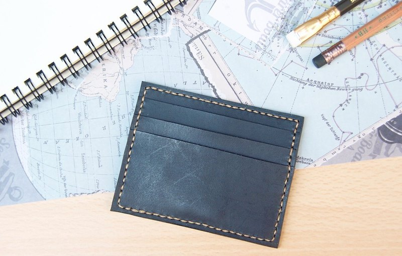 Leather business card holder card holder leisure card holder Zunjue black free lettering