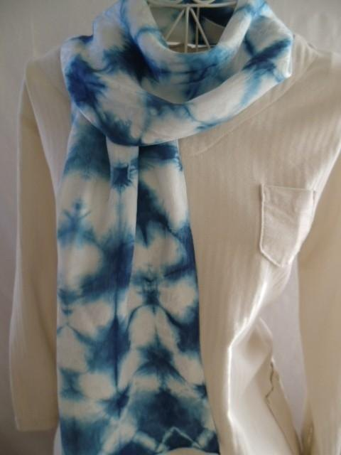 Silk indigo plant tie-dye (snow flower) stall with pouch