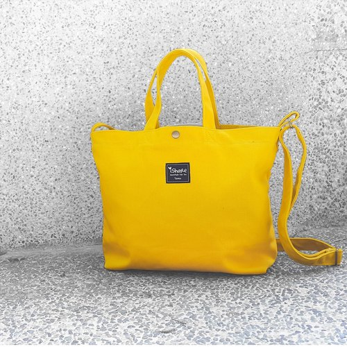 Monochrome A4 Triple Tote Bag - Bright Yellow (Hand Shoulder Shoulder Tutorial/Book/Postman Bag)