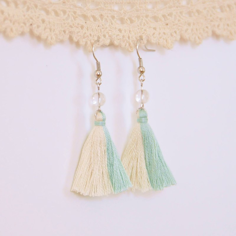 Armei tassel. Pink and white. White crystal. Earrings Two Colorway Tassel. Pastel Green Milky White. Crystal. Earrings