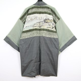 Back to Green Japanese Men's Weaving Hand-painted Blue Riverside Vintage kimono