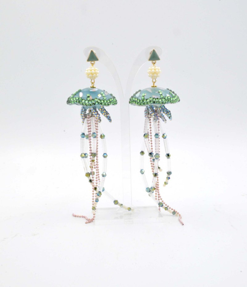 Jellyfish flow chain pierced beaded earrings JELLY FISH