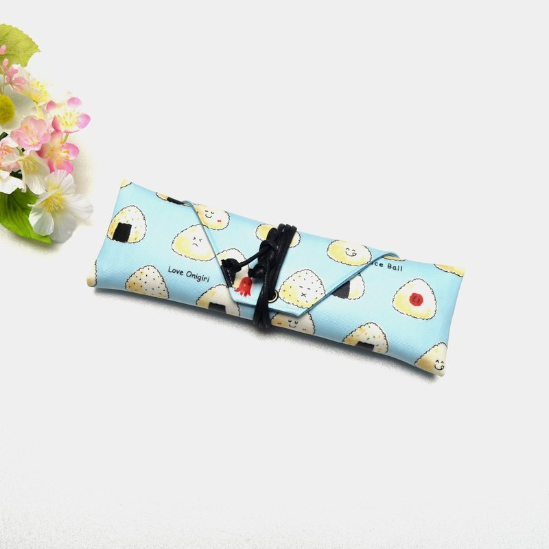 Cute rice balls cutlery bag / Pen storage bag Hand-made simple canvas storage convenience